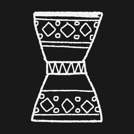 African drum doodle Illustration
