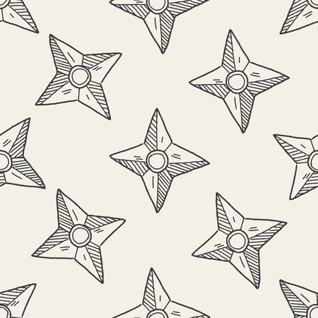 ninja weapons: ninja weapon doodle seamless pattern background