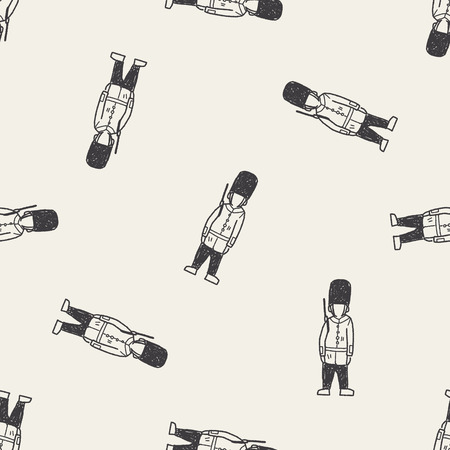 England Soldier doodle seamless pattern background