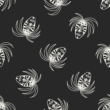 아프리카 마스크 낙서 원활한 패턴 배경