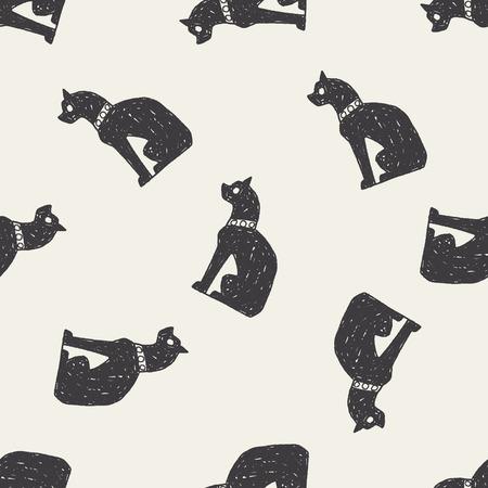 cat goddess: egypt cat doodle seamless pattern background