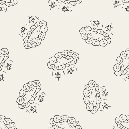 onsen: Hot spring doodle seamless pattern background