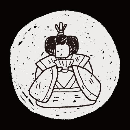 Japanese queen doodle Vector