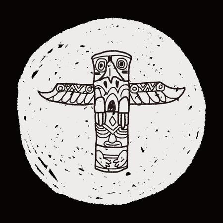 haida indian: Totem Pole doodle Illustration
