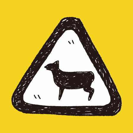 sheep road sign: sheep sign doodle Illustration