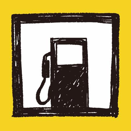 gaz: Petrol gas station doodle