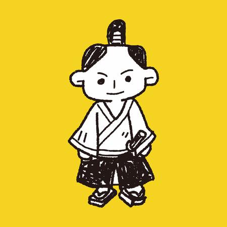 samurai doodle Ilustrace