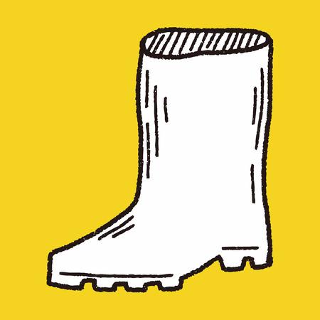 rain boots: botas de lluvia del doodle Vectores