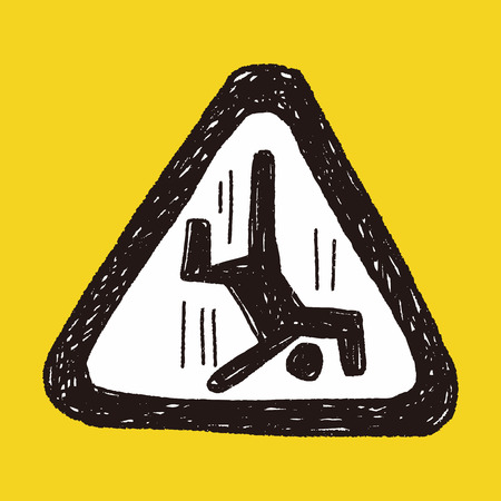 trip hazard: people fall sign doodle