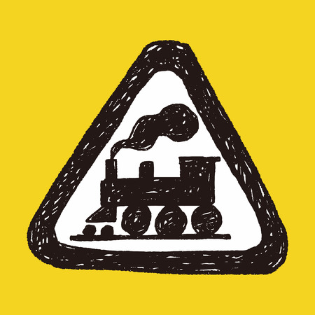 railroad crossing: train doodle Illustration