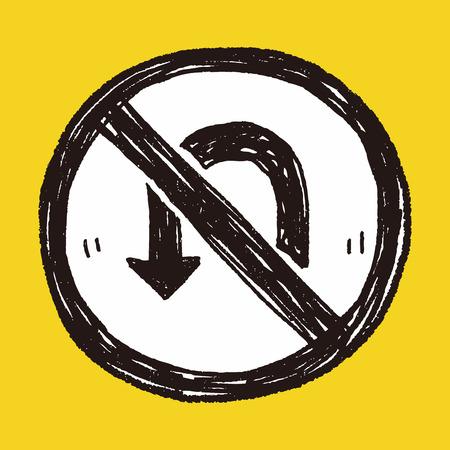 warning indicator: no Turn back doodle