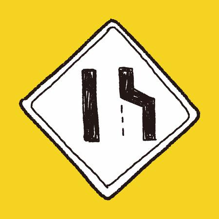 narrow: road narrow merge doodle
