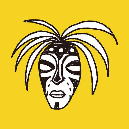 aborigine: African mask doodle Illustration
