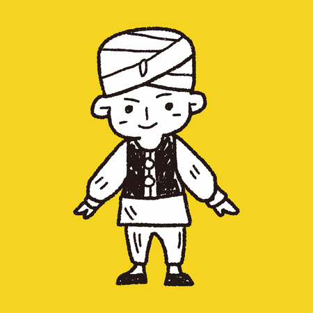 bollywood: indian people doodle Illustration
