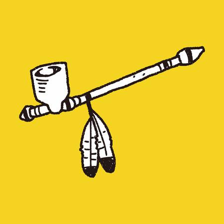 calumet: Indians Pipe smoke doodle Illustration