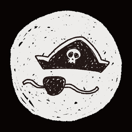 pirate hat and mask doodle Vector