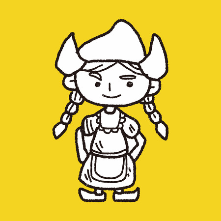 dutch girl: Dutch woman doodle Illustration