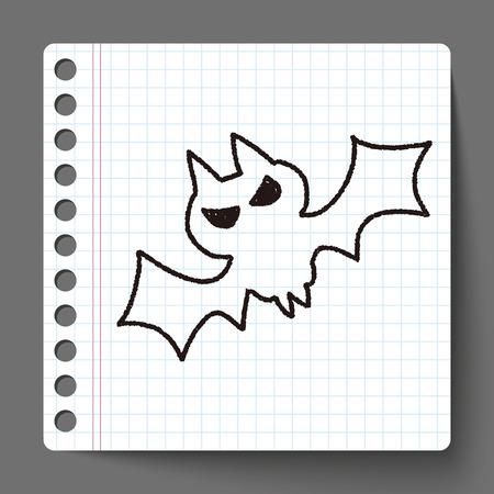 bat doodle drawing Vector