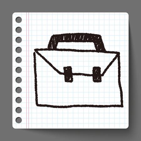 bussinessman: suitcase doodle drawing Illustration
