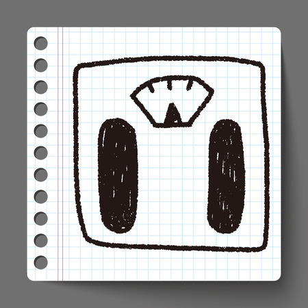 weighting: Weighting machine doodle drawing Illustration