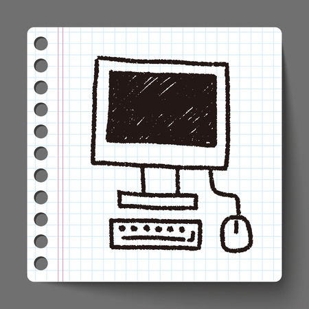 computer doodle drawing Vector