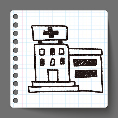hospital doodle drawing Vector