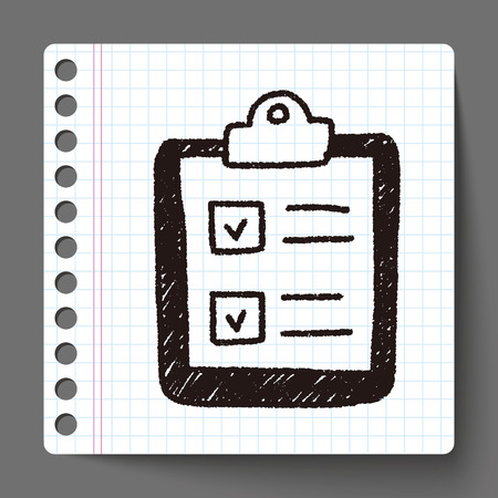 paper checking list doodle drawing Illustration