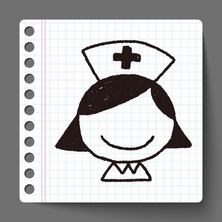 enfermera con cofia: Enfermera Doodle