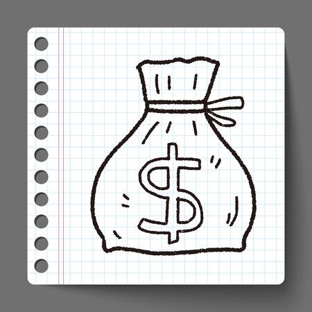 doodle money bag Vector