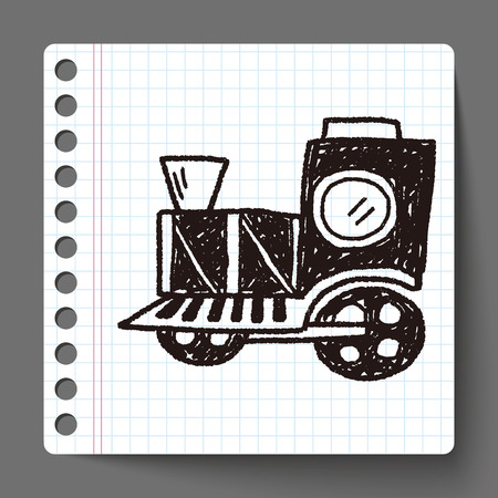 hand rails: Doodle Train Illustration