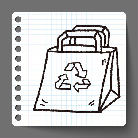 environmental protection: Environmental protection concept; Recycled shopping bag; doodle