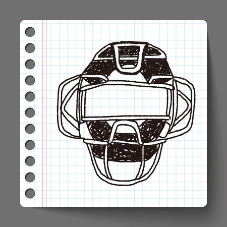 catcher baseball: baseball catcher doodle