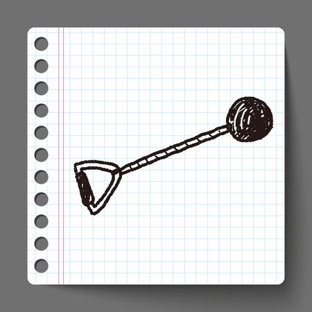 lanzamiento de bala: tiro del doodle de poner Vectores
