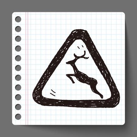 yellow beware: deer sign doodle
