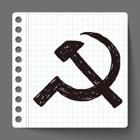 hammer and sickle: sickle hammer doodle