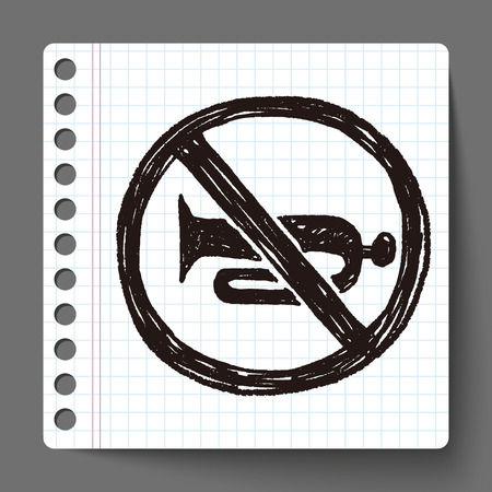 stop sign: No horn doodle