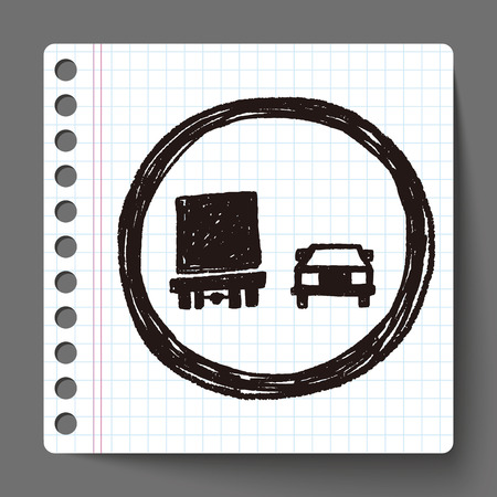 overtake: no overtaking doodle Illustration