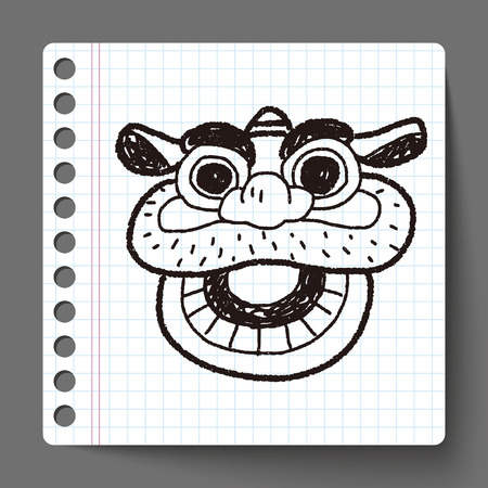 dancing dragon: Chinese New Year; The dragon and lion dancing head doodle