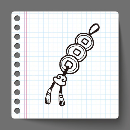 blown: Chinese New Year; Ancient coins lucky pendant means  wish good luck and fortune comes. doodle