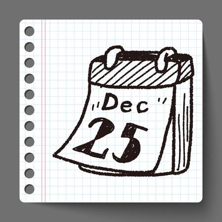 in december: December calendar doodle