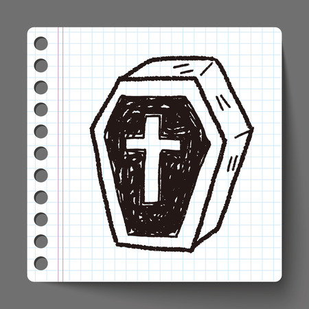 trumna: Trumna doodle Ilustracja