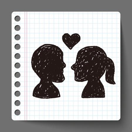 girls kissing: love doodle Illustration
