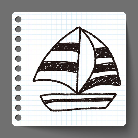 doodle sailboat 向量圖像