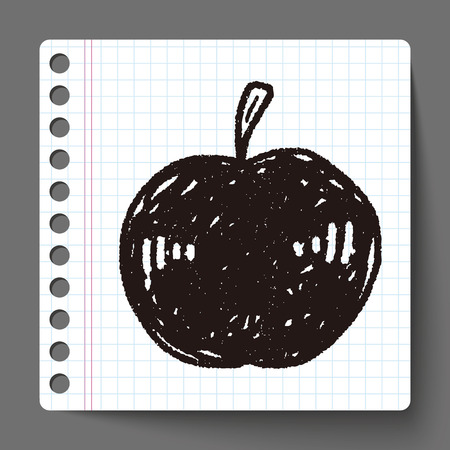 manzana caricatura: doodle de manzana