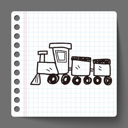 steam train: toy train doodle Illustration