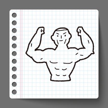 musculo: Doodle muscular fuerte Vectores