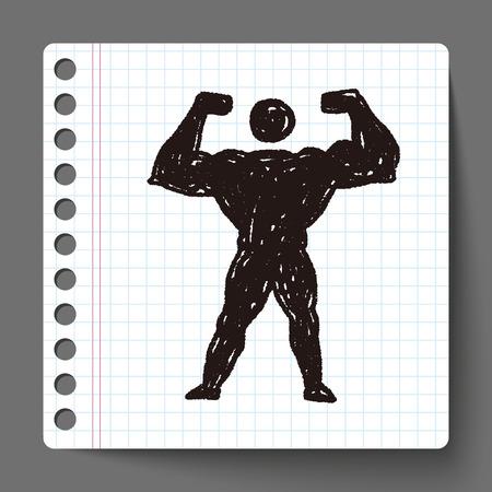 corpo umano: Forte Doodle muscolare Vettoriali