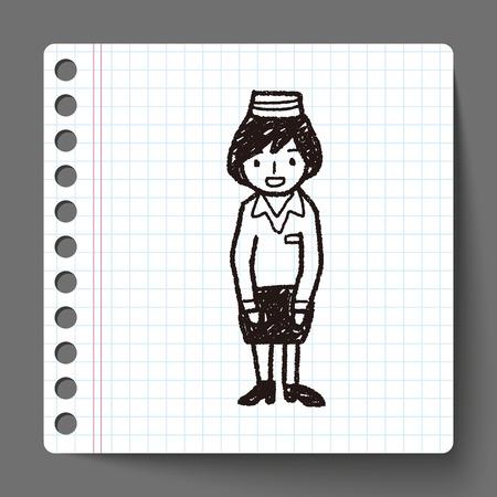 cabin attendant: Flight Attendant doodle Illustration