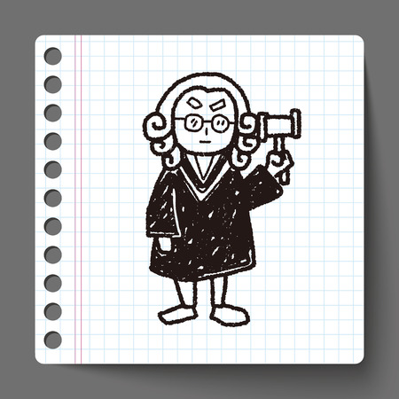 court judge: lawyer judge doodle Illustration
