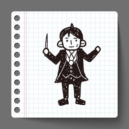 maestro: conductor doodle Illustration